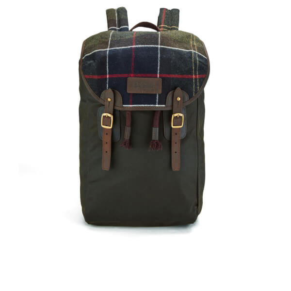 Barbour Men S Tartan And Wax Backpack Olive Free Uk