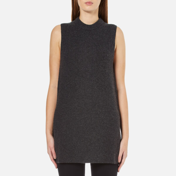 Polo Ralph Lauren Women's Sleeveless Jumper with Side Slit - Dark Smoke Heather