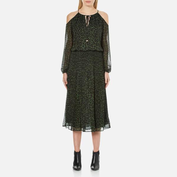 MICHAEL MICHAEL KORS Women's Spotted Cheetah Cold Shoulder Dress - Moss