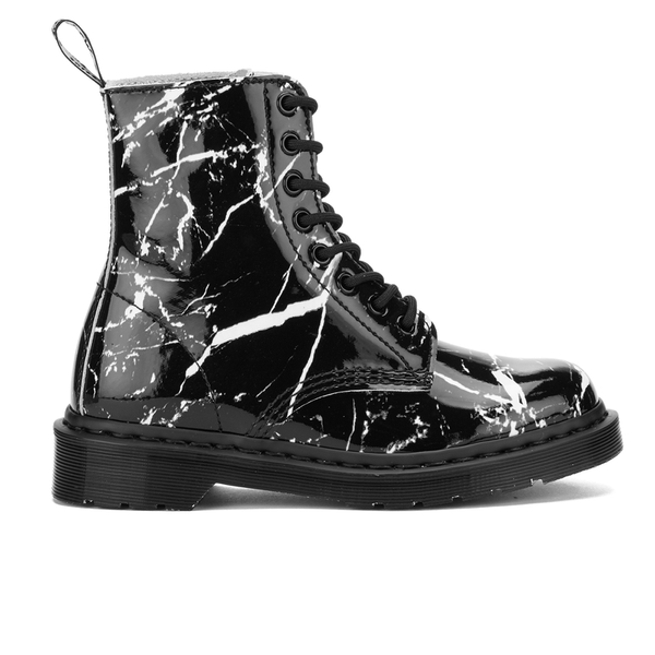 Dr. Martens Women's Pascal Patent Marble 8-Eye Boots - Black