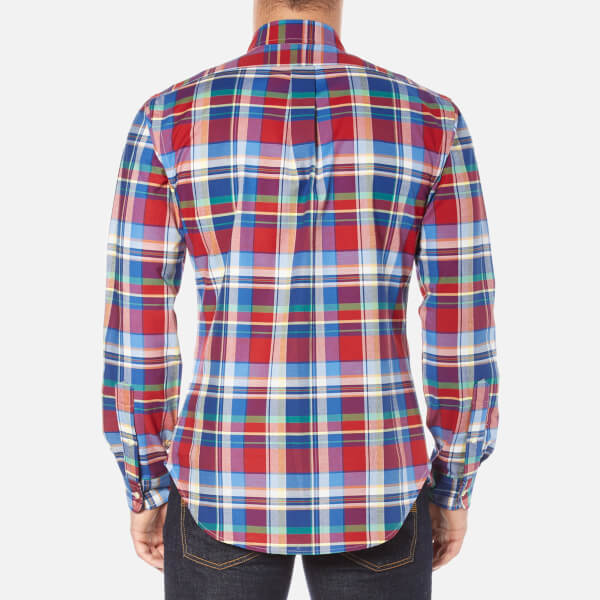 Polo Ralph Lauren Men's Long Sleeve Checked Stretch Oxford Shirt - Red/Blue:  Image