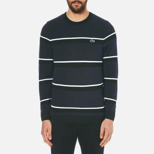Lacoste Men's Crew Neck 'Made In France' Thin Stripe Sweatshirt - Black/Navy Blue/White