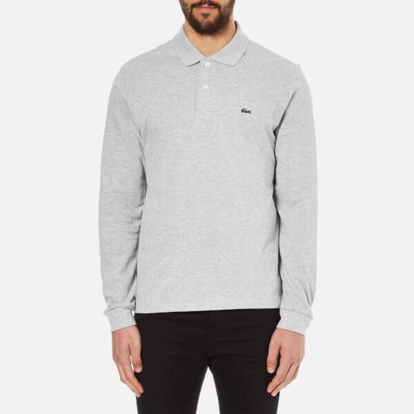 c05199b7dc9576 Lacoste Men s Long Sleeve Marl Polo Shirt - Silver Chine Clothing ...