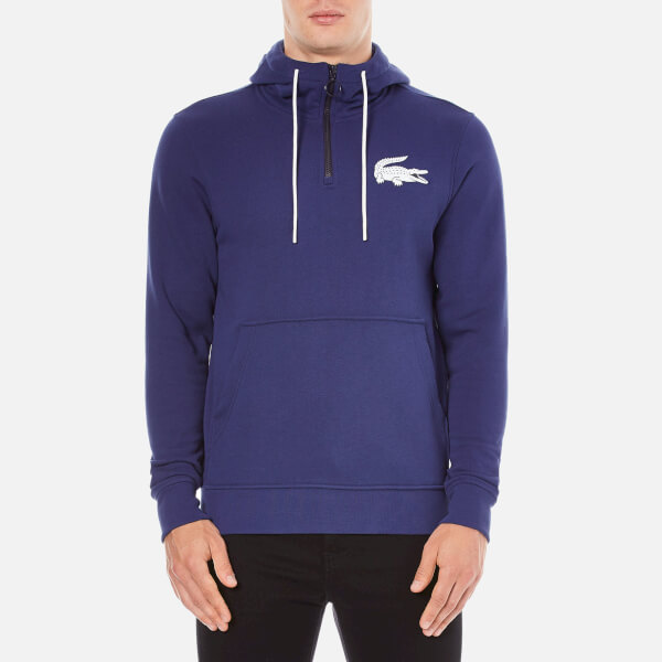Lacoste L!ve Men's Half Zip Hoody - Jazz/White/Navy Blue