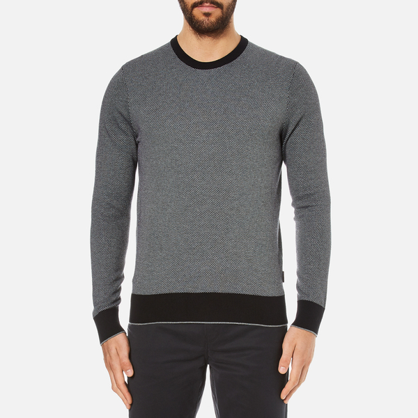 Michael Kors Men's Cotton Jacquard Crew Neck Jumper - Black