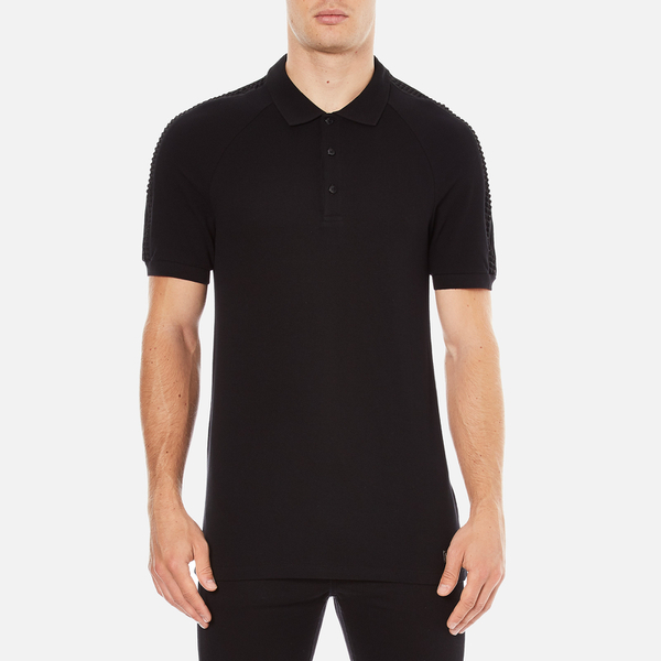 Versace Collection Men's Shoulder Detail Polo Shirt - Nero