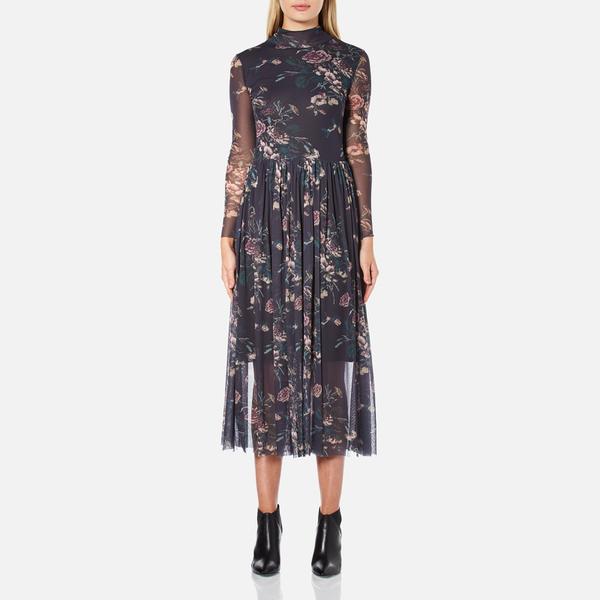Ganni Women's Delaney Mesh Maxi Dress - Black Bouquet