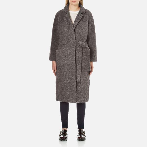 Ganni Women's Fenn Long Wrap Coat - Smoked Pearl Melange
