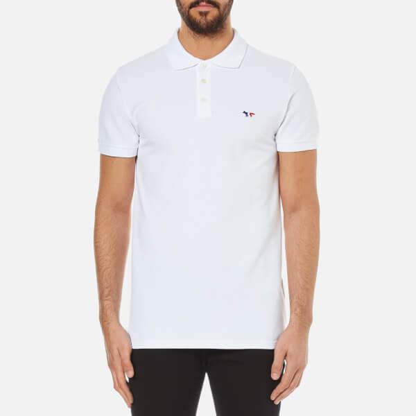 Maison Kitsuné Men's Tricolor Fox Patch Polo Shirt - White