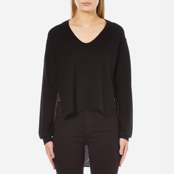 T by Alexander Wang Women's Superfine Merino Knit Pullover with Woven Viscose Combo - Black