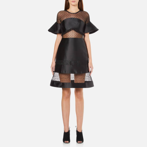 Three Floor Women's Petite Coquette Dress - Black/Nude