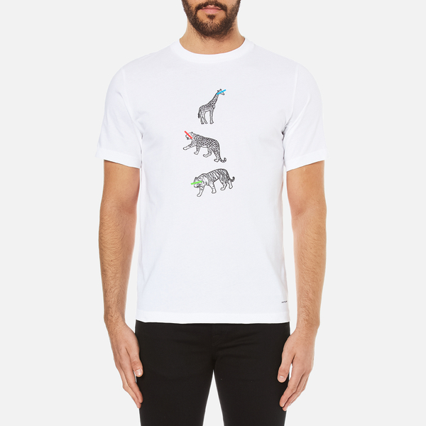 PS by Paul Smith Men's Crew Neck Short Sleeve Animal Logo T-Shirt - White