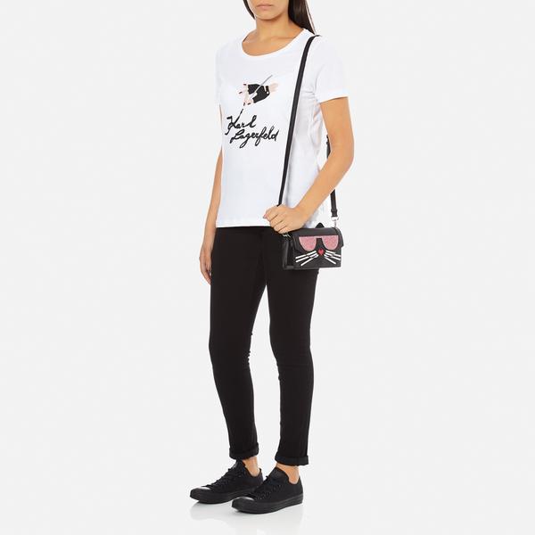 Karl Lagerfeld Womens Kkocktail Cat Cross Body Bag Black Womens