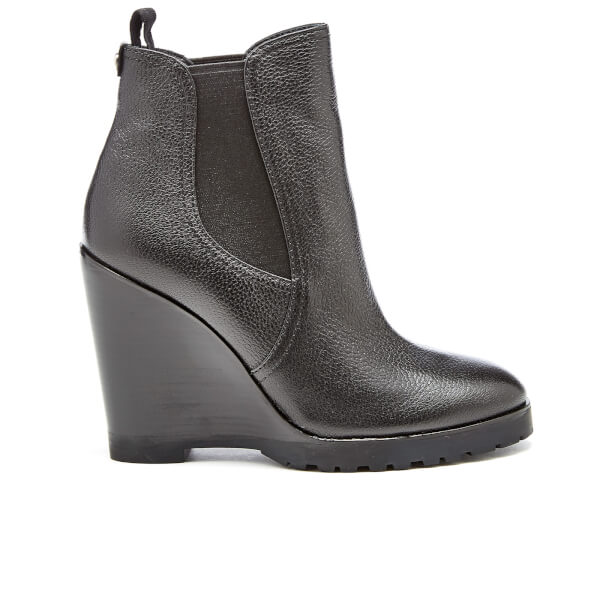 MICHAEL MICHAEL KORS Women's Thea Tumbled Leather Wedge Boots - Black