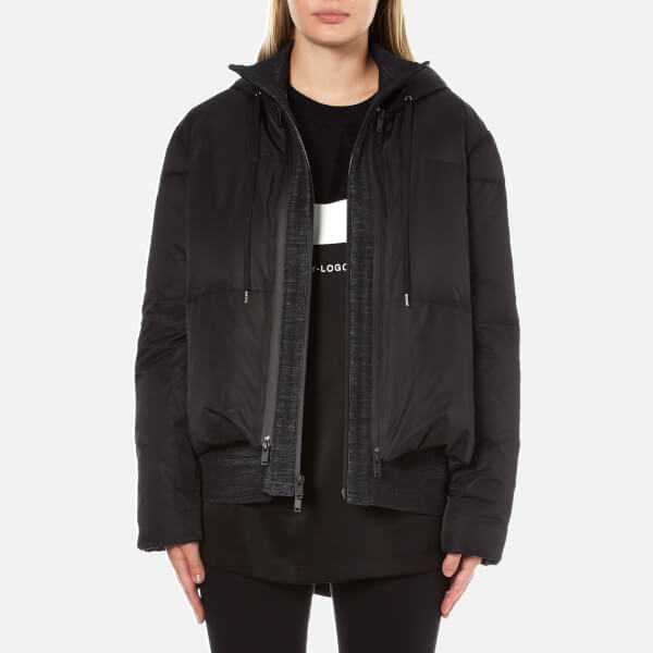 DKNY Women's Long Sleeve Short Hooded Downfill Puffer Coat with Double Layer - Black