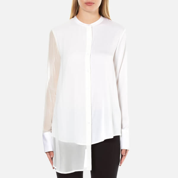 DKNY Women's Long Sleeve Button Through Shirt with Front Panel - Chalk