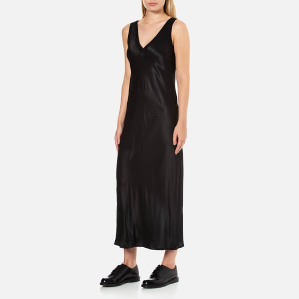 f35b1546e1ebf2 DKNY Women s Sleeveless V-Neck Slip Dress with Ribbed Trims and Back Slit -  Black