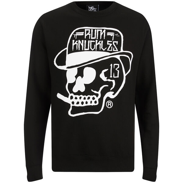 Rum Knuckles Classic Logo Crew Neck Sweatshirt - Black