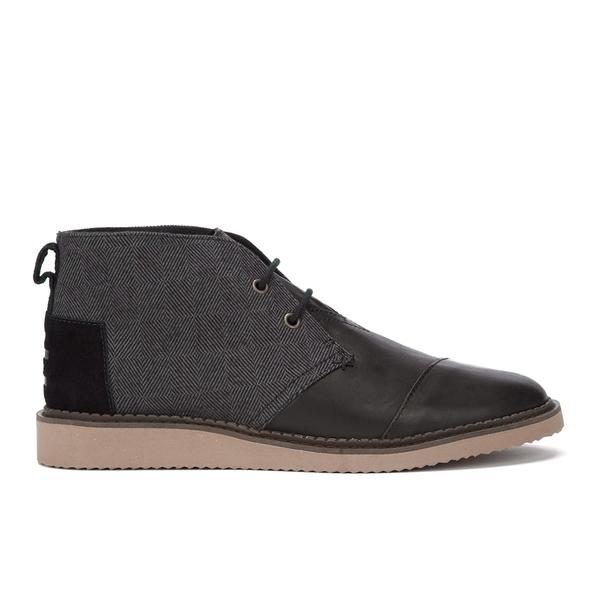 TOMS Men's Mateo Leather/Herringbone Chukka Boots - Black