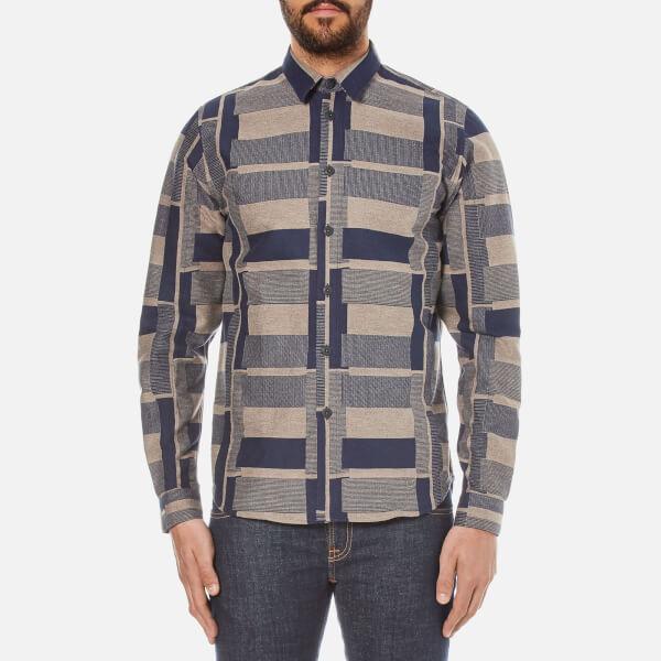Folk Men's Patterned Long Sleeve Shirt - Navy Stone