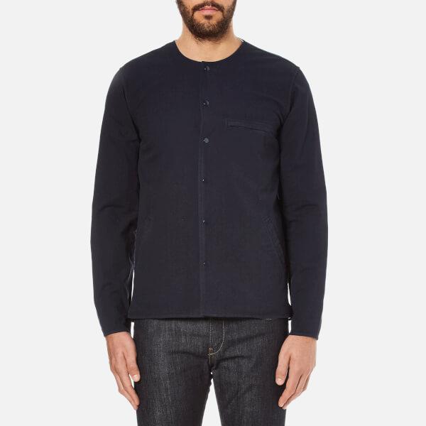 Folk Men's Collarless Long Sleeve Shirt - Navy
