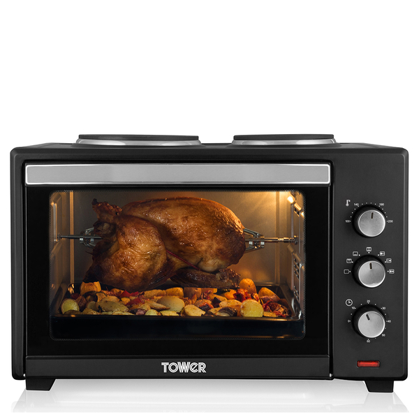 tower t14014 42l mini oven with hotplates and rotisserie. Black Bedroom Furniture Sets. Home Design Ideas
