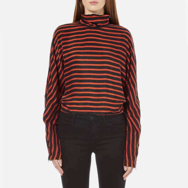 McQ Alexander McQueen Women's Striped Turtleneck Top - Black/Orange Stripes