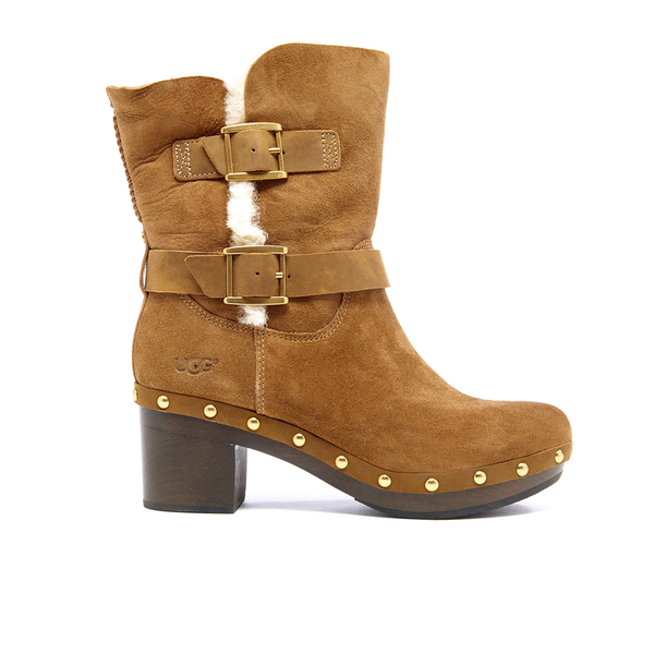 UGG Women's Brea Clog Suede Buckle Boots - Chestnut