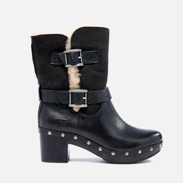 UGG Women's Brea Clog Suede Buckle Boots - Black: Image 1