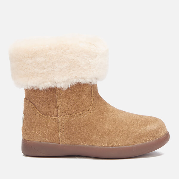 UGG Toddlers' Jorie II Sheepskin Collar Suede Boots - Chestnut