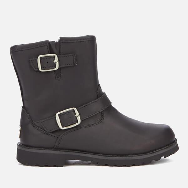 UGG Kids' Harwell Leather Biker Boots - Black