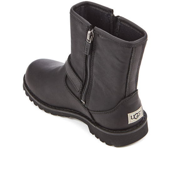 UGG Kids' Harwell Leather Biker Boots - Black: Image 4
