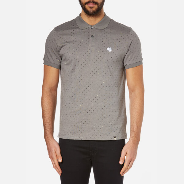 Pretty green men 39 s short sleeve polka dot polo shirt for Mens polka dot shirt short sleeve