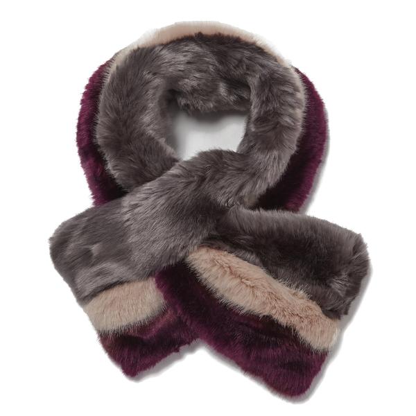 Ted Baker Women's Wyla Triple Stripe Detail Fur Scarf - Mid Purple