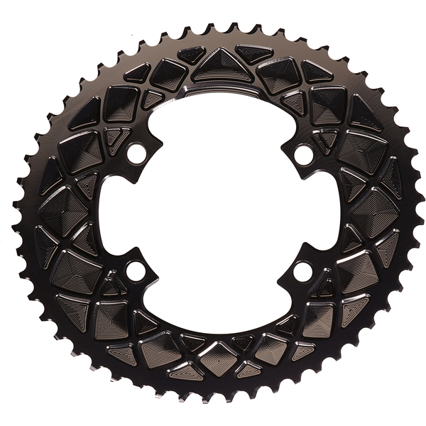 AbsoluteBLACK 110BCD 4 Bolt Spider Mount Aero Oval Chain Ring (Premium)