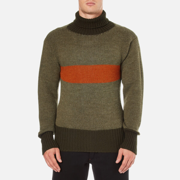 Nigel Cabourn Men's 3 Guage Striped Roll Neck Jumper - Army/Orange