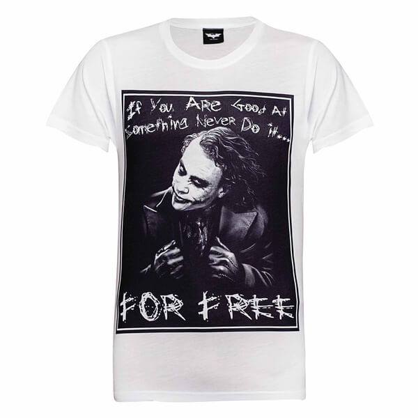 DC Comics Men's Batman The Joker Never for Free T-Shirt - White