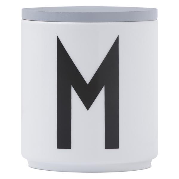 Design Letters Wooden Lid For Porcelain Cup - Grey