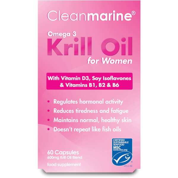 Cleanmarine Krill Oil for Women - 60 Gel Capsules (600mg)