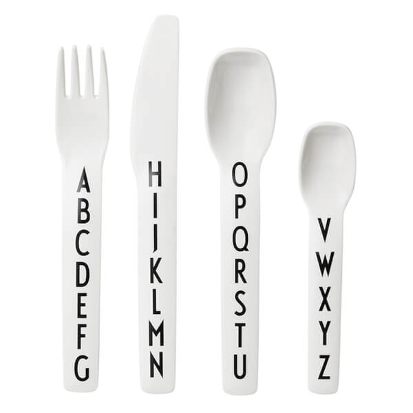 Design Letters Kids' Collection Cutlery Set - White