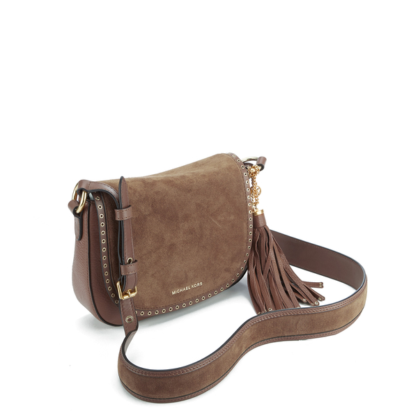 608852e90fb4 MICHAEL MICHAEL KORS Women's Brooklyn Mid Saddle Bag - Luggage: Image 3