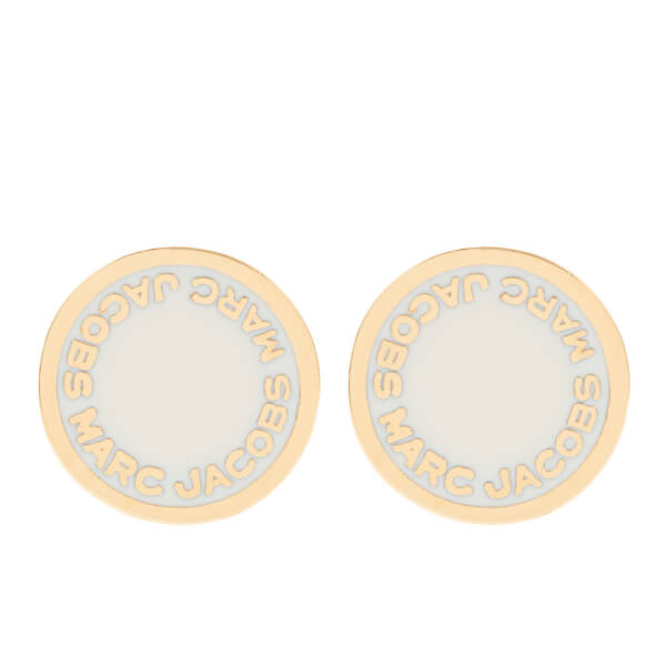 Marc Jacobs Women S Enamel Logo Disc Stud Earrings Cream Image 1
