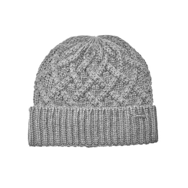 Michael Kors Men s Cable Knit Hat - Heather Grey - Free UK Delivery ... 6a9872eb15a