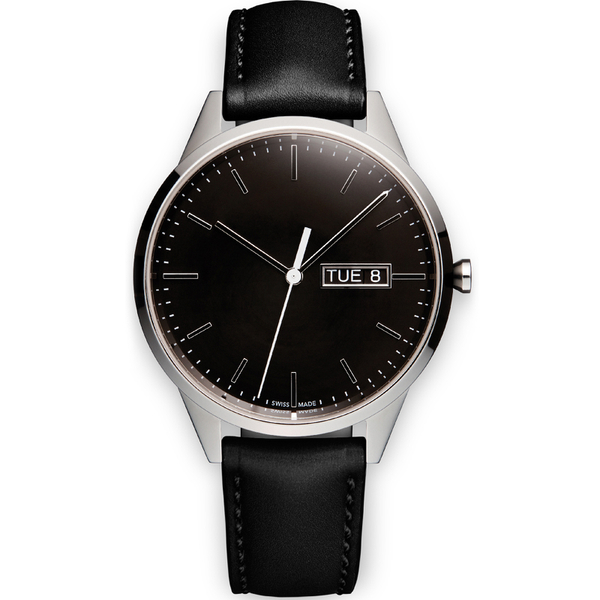 Uniform Wares Men's C40 Polished Steel Italian Nappa Leather Wristwatch - Black
