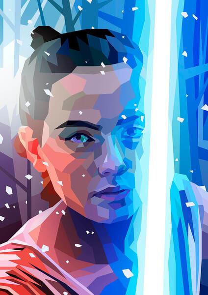 Affiche Géométrique Star Wars Rey - Fine Art