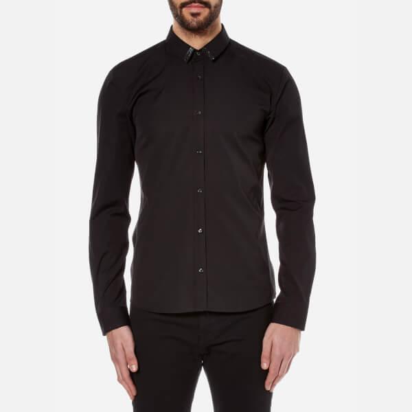 HUGO Men's Ero3 Collar Detail Shirt - Black