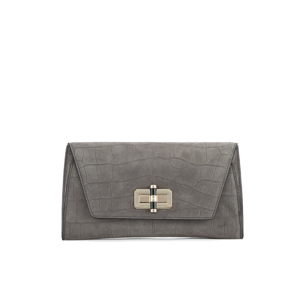 55ace201a8 Diane von Furstenberg Women s Gallery Uptown Embossed Croc Clutch Bag -  Slate