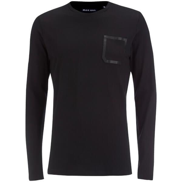 Brave Soul Men's Activist Tape Pocket Long Sleeve T-Shirt - Black