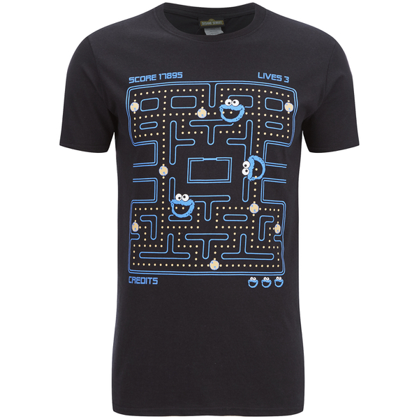 T-Shirt Homme Cookie Monster (Macaron le Glouton) Gaming - Noir