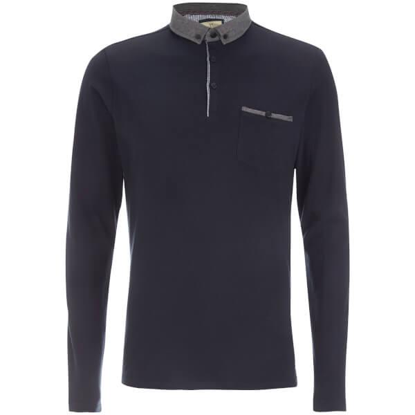 Brave Soul Men's Hera Long Sleeve Polo Shirt - Navy